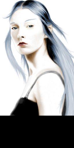 black hair and violet eyes